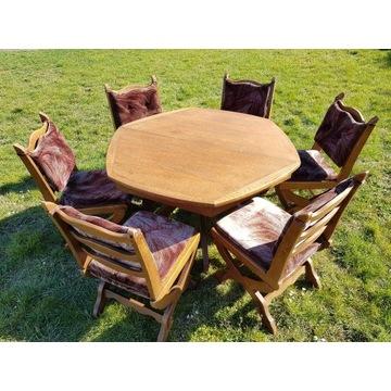 Komplet dębowy z rozkładanym stołem, sześć krzeseł