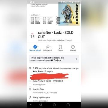2 Bilety na koncert Schafter Łódź 15.02.2020