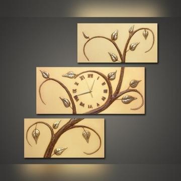Tryptyk zegar ścienny z gipsu oryginalny dekoracja