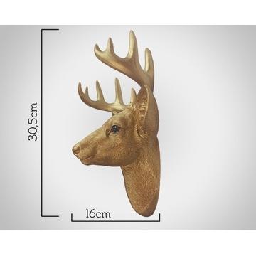 Dekoracja ścienna, głowa jelenia koloru złotego