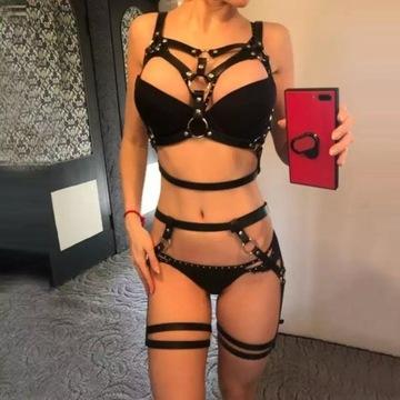 Bondage skórzana Uprząż BDSM uda biust całe ciało