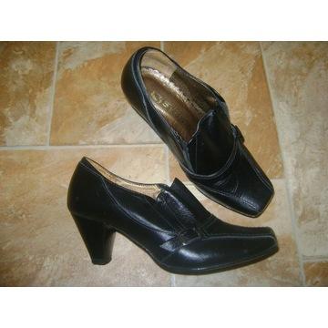 Pantofle czółenka skóra skórzane czarne Syrena 35
