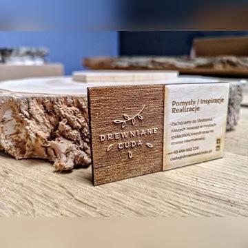 Drewniane wizytówki 100szt 3D głęboko wypalane