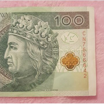 Banknot 100 zł super numer  CN.666...
