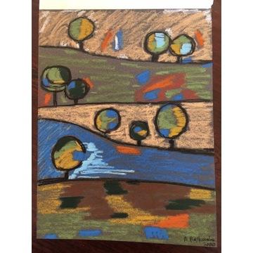 Art naïve - Pejzaż op. 23 pastel olejny
