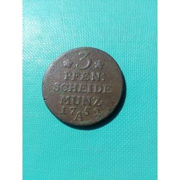3 Pfennige Scheide Munz. 1752 A Ładna patyna