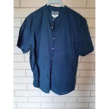 Granatowa koszula z krótkim rękawem slim fit roz L