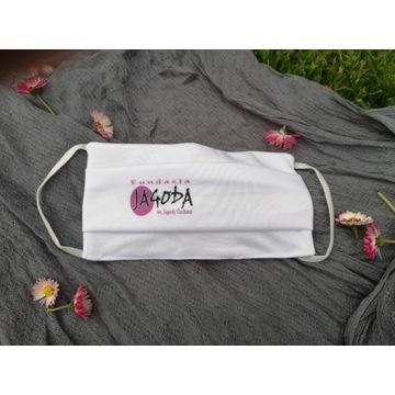 Maseczka wielorazowa - logo Fundacji Jagoda