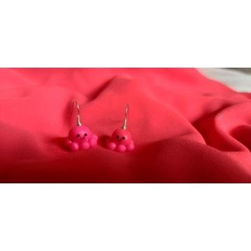 Kolczyki ośmiorniczki różowe z modeliny