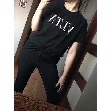 Valentino czarny t-shirt bluzka xxl czarny
