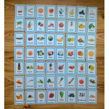 Plansze edukacyjne dla dzieci - Owoce i warzywa
