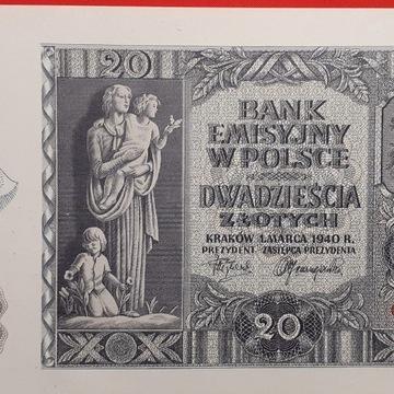 Banknot 20zł 1940 r Oryg. stan UNC- SER. G