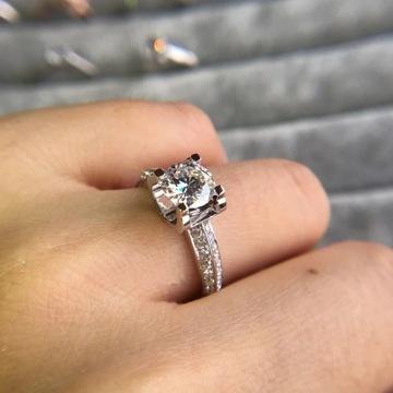 Pierścionek zaręczynowy srebro cyrkonia diament