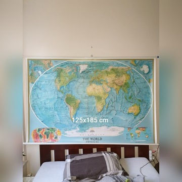 Mapa fizyczna świata (rozwijana) National  Geogra