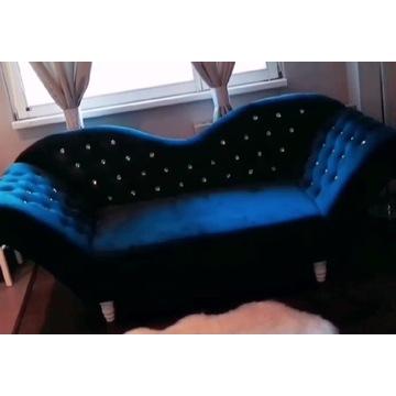 Sofa Szezlong w stylu Glamour Granat Stan Idealny