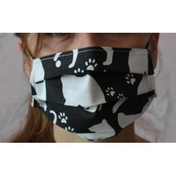 Modna bawełniana maska maseczka na twarz, koty