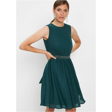 Sukienka wizytowa, butelkowa zieleń,dżety,cyrkonie