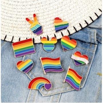 Brożka LGBT serce tęcza flaga
