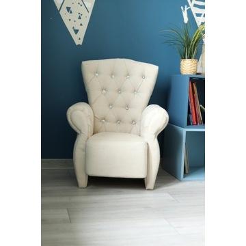 Krzesło, fotel dziecięcy, uszak, pikowany