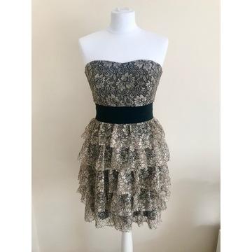 Sukienka koronkowa z falbanami rozmiar 36