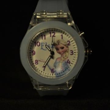 Zegarek, świecący dla dziewczynki Frozen Elsa