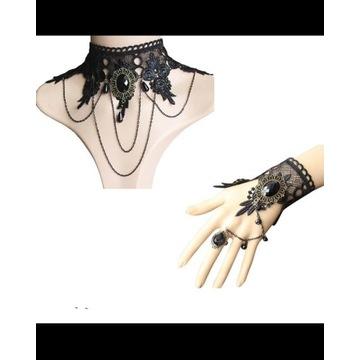 Zestaw biżuteria gotycka vintage goth chocker