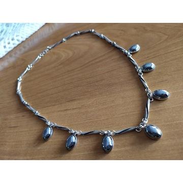 Srebrny naszyjnik z hematytem cz. kompletu 30.62 g