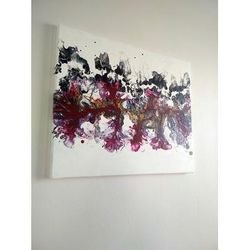 Obraz abstrakcyjny Fantazja 2 pouring 50 x 60 cm