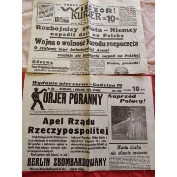 WIECZOR KURIER 1.09. 1939 i KURIER PORANNY 5.09.