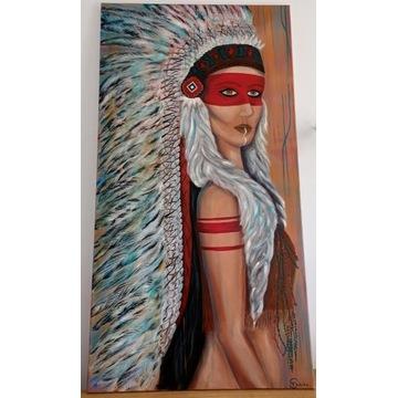 """Obraz olejny Indianka """"Wojowniczka """" duży 150x80"""