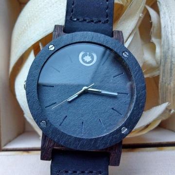 Plantwear Drewniany zegarek Seria Raw – Heban