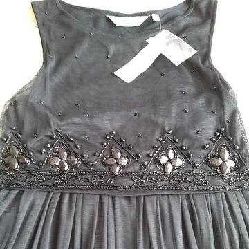 Sukienka cekiny kamienie czarna tiul