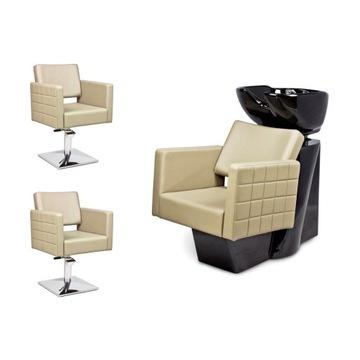2 x Fotel Fryzjerski + Myjnia Fryzjerska CUBO