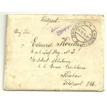 List Chropin - Kraków , feldpost 1914