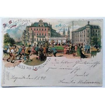 GRUSS LIEGNITZ LEGNICA TRAMWAJ 1898  OSKAR KEIL
