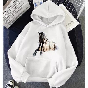 Bluza z kapturem biała koń konie S-XXL Różne wzory