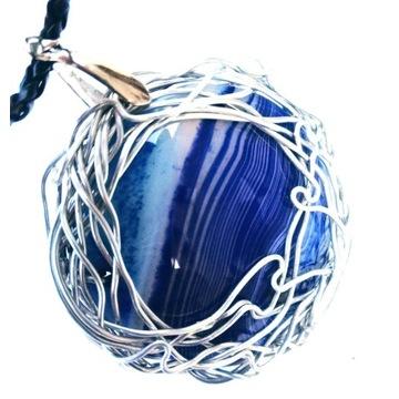 Wisior z agatem, wire wrapping, biżuteria artystyc