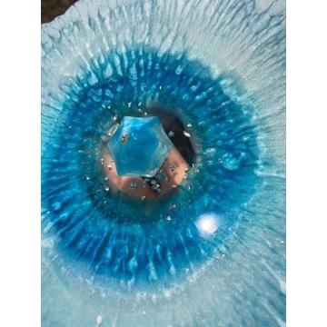 Podstawka patera niebieska perłowa z diamentem