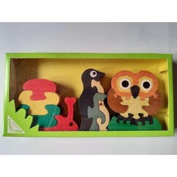 Drewniane puzzle układanka - zakup wspiera zbiórkę