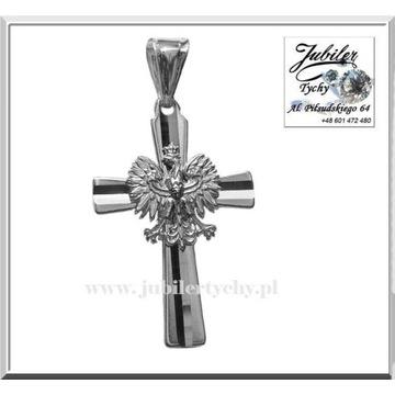 Srebrny krzyżyk z orłem krzyż orzełek orzeł