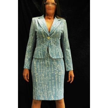 Marynkarka żakiet garsonka 36 kostium niebieska