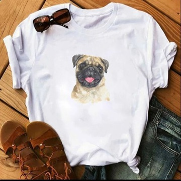 Koszulka t-shirt bluzka mops pug pies rozne wzory