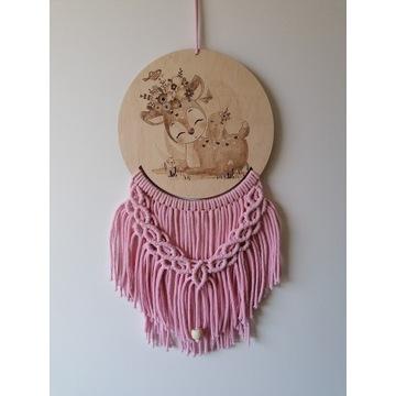 Łapacz snów dekoracja pokoju dziecięcego, makrama