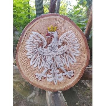 Ręcznie wykonana rzeźba drewniana - herb, orzeł.