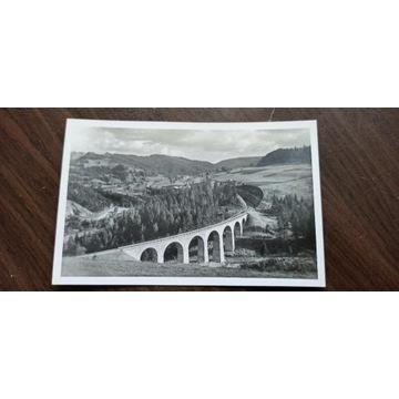 Pocztówka Wisła Głębce wiadukt 1945