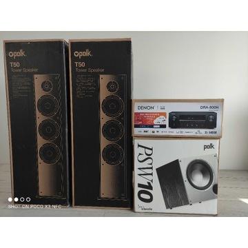 Denon DRA-800 + Polk Audio T50 + Polk Audio PSW-10