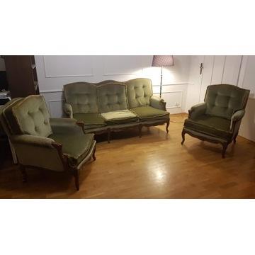 Zestaw zabytkowych mebli kanapa i 2 fotele