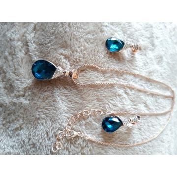Zestaw biżuterii naszyjnik i kolczyki z kryształka