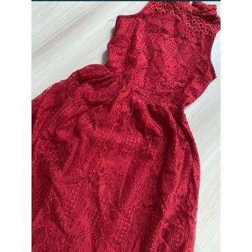 Czerwona sukienka z koronki 164 nowa