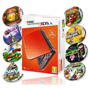 Nintendo New 3DS XL + 8 Gier + Etui + Ładowarka